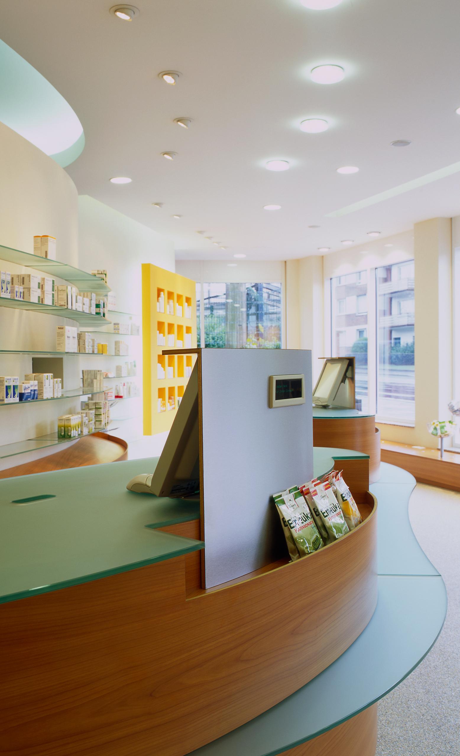 Das moderne Kassensystem ist im Handverkaufstisch integriert