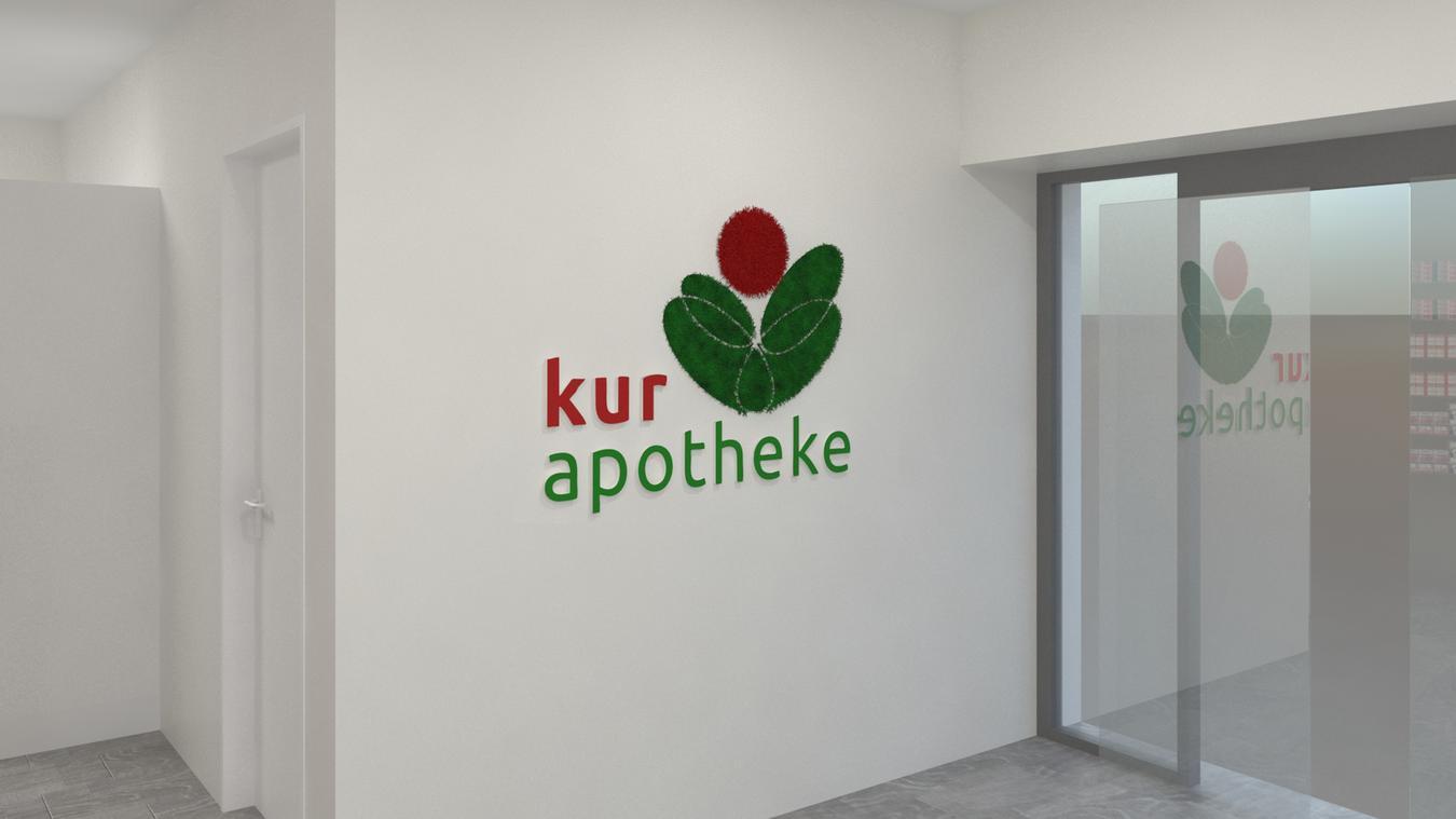 Das Logo der Kur Apotheke in 3-D Acrylbuchstaben
