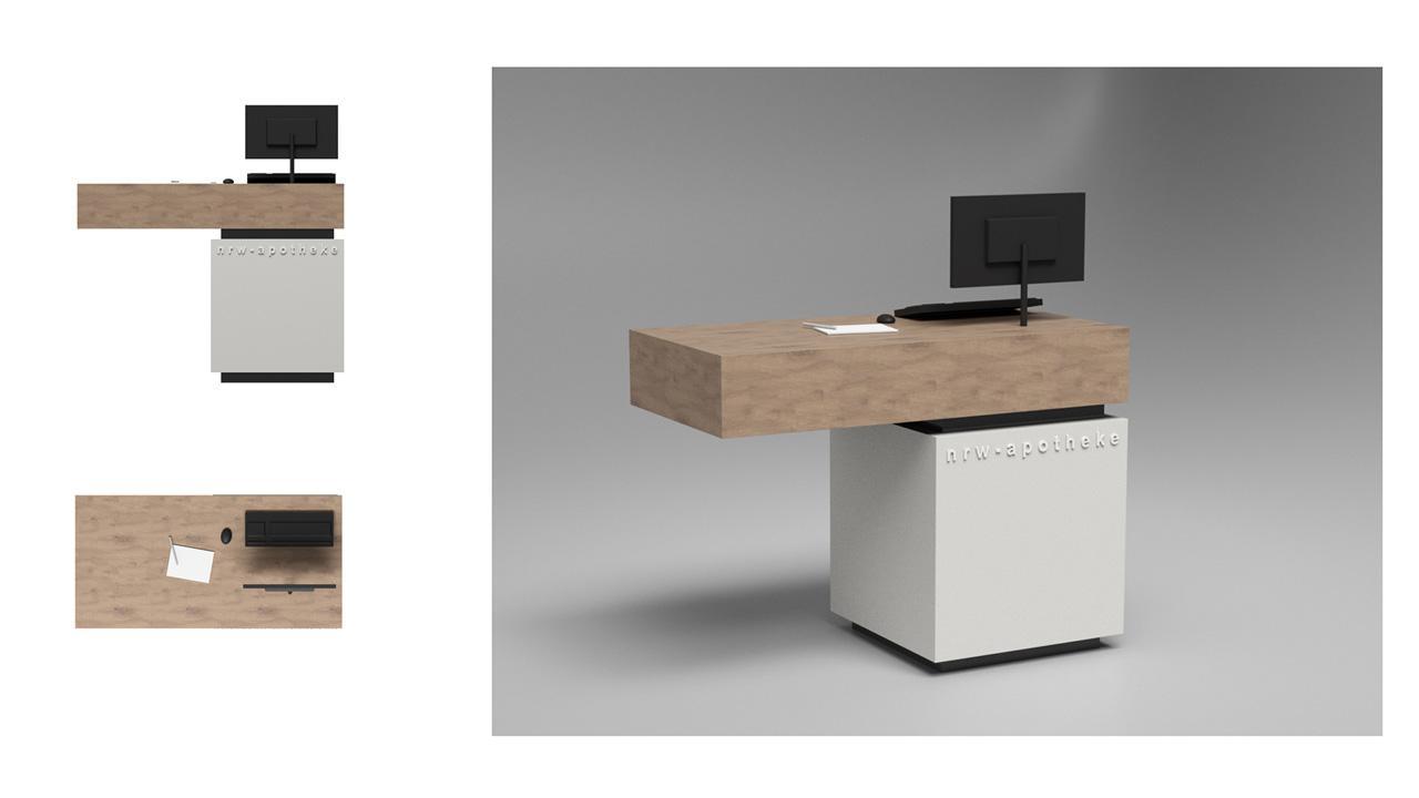 Entwurf der Handverkaufstische mit rechteckiger Ablage © 2020 huebbers.com