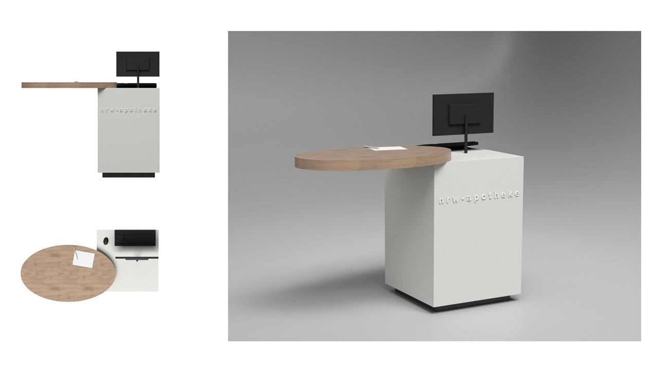 Entwurf der Handverkaufstische mit ovaler Fläche © 2020 huebbers.com