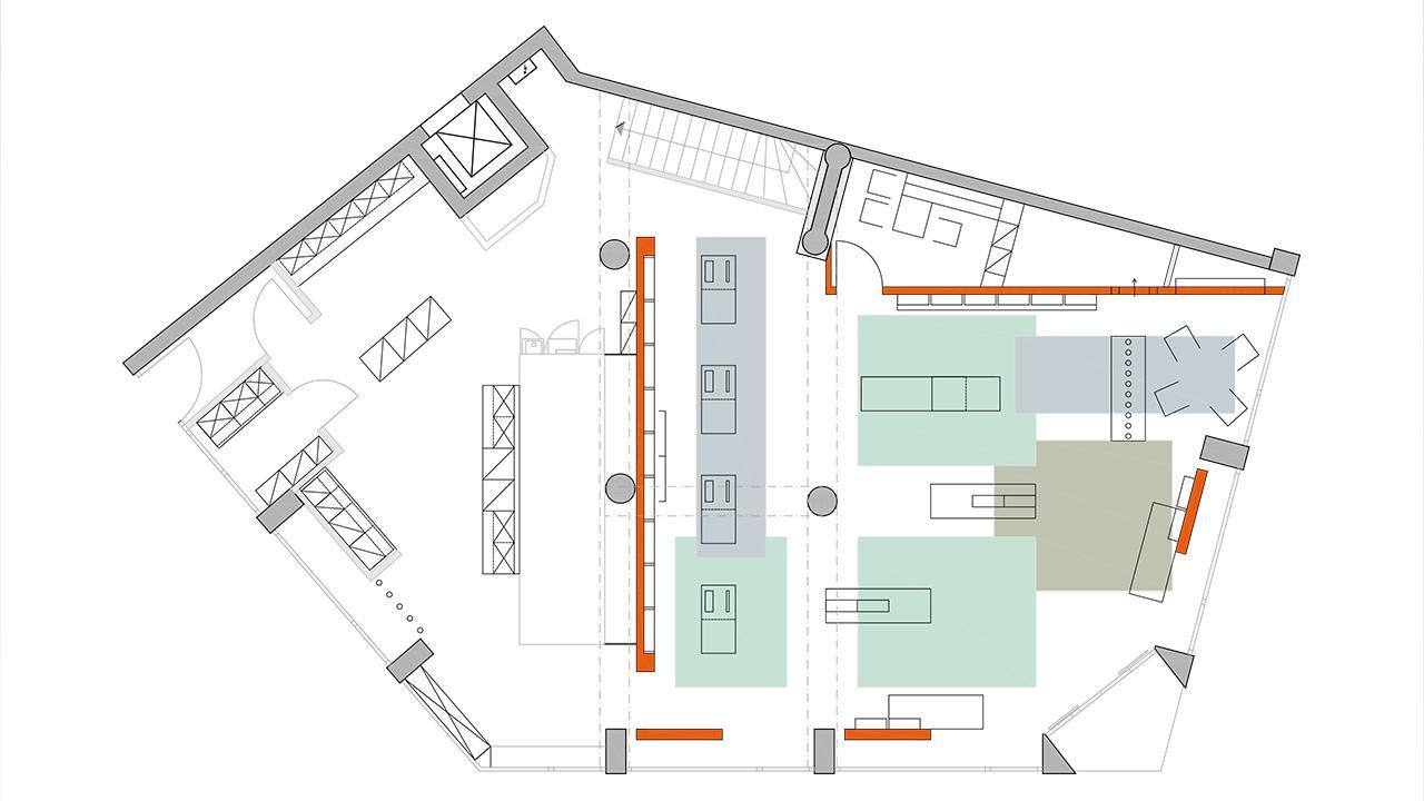 Grundriss der Apothekeneinrichtung mit Deckenfeldern © 2020 huebbers.com