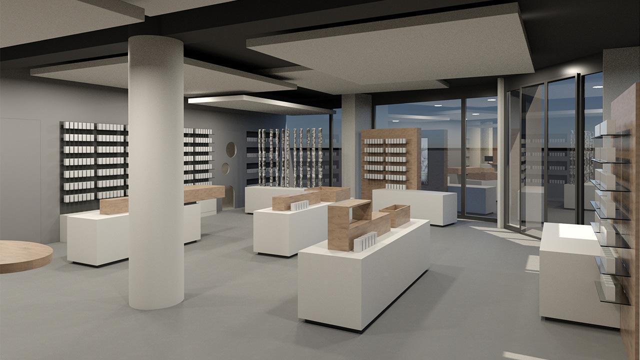 Die moderne Apothekeneinrichtung überzeugt durch die besondere Materialauswahl © 2020 huebbers.com